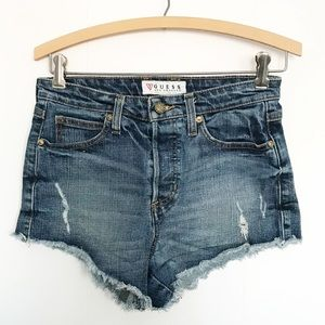 Guess high waisted button fly shorts sz 26